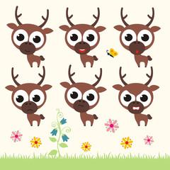 Vector set cute deer. Collection isolated funny deer. Emotion little deer.