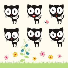 Vector set cute kitten. Collection isolated funny kitten. Emotion kitten.