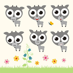 Vector set cute goat. Collection isolated funny goat. Emotion little goat.