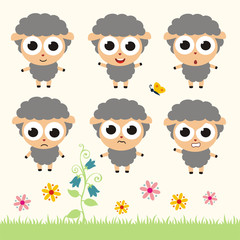 Vector set cute sheep. Collection isolated funny sheep. Emotion little sheep.