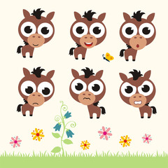 Vector set cute horse. Collection isolated funny horse. Emotion little horse.