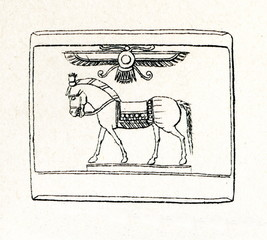 Ancient Greek cylinder seal with horse and egyptian winged sun disk (from Meyers Lexikon, 1895, 7/286-7)