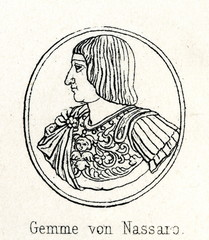 Francis I of France - portrait cameo by Matteo dal Nasaro Veronese (from Meyers Lexikon, 1895, 7/286-7)