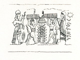 Assyrian cylinder seal - offering sacrifice (from Meyers Lexikon, 1895, 7/286-7)