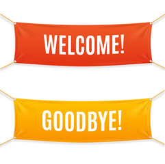 Welcome and Goodbye Banner. Vector