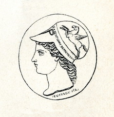 Minerva - carved gem by Roman-Vincent Jeuffroy (from Meyers Lexikon, 1895, 7/286-7)