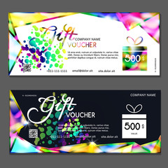 Gift voucher. Vector, illustration. Template discount card.