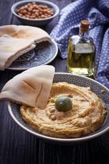 Traditional hummus and pita bread