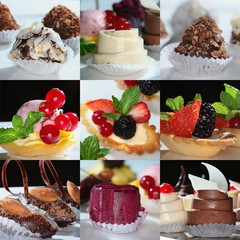 collage of nine photos of gourmet desserts