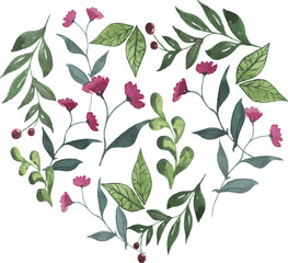 Branches with pink flowers and berries. Heart shape. Hand drawn vector watercolor illustration.