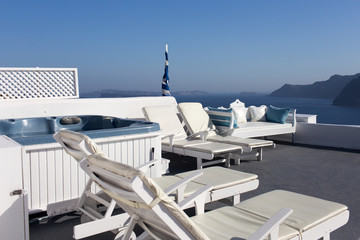 Sunbathing area with a beautiful view of the sea and mountains