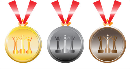 set of medals on white. vector illustration.