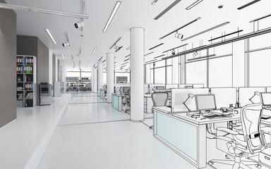 Bürofläche mit Einrichtung (Entwurf)