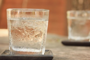 Drinking water with ice