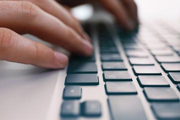 Man hands typing, closeup