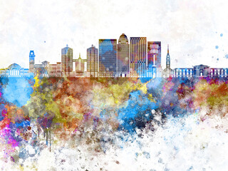 Louisville V2 skyline in watercolor background