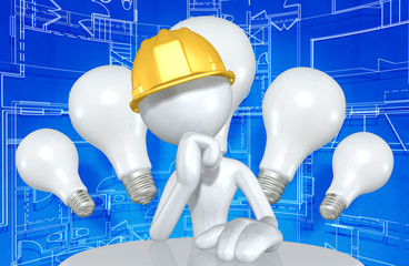Construction Worker Character With Light Bulbs