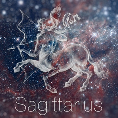 Astrological zodiac sign - Sagittarius. Vintage astrological drawing. Galaxy sky on the background. Can be used for horoscopes. Elements of this image furnished by NASA.