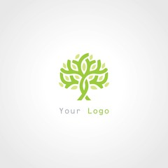 green tree plant abstract logo