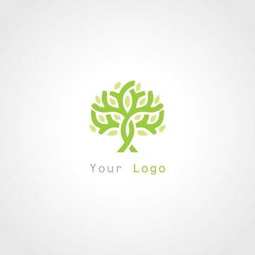 green tree plant abstract logo