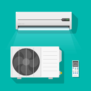 Air conditioner vector set isolated on green color background, flat air conditioning unit system and remote control icons