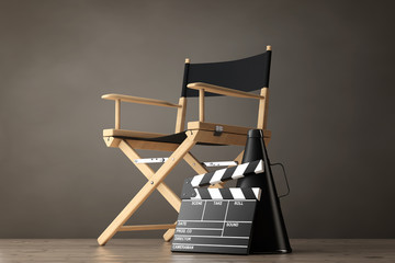 Director Chair, Movie Clapper and Megaphone. 3d Rendering