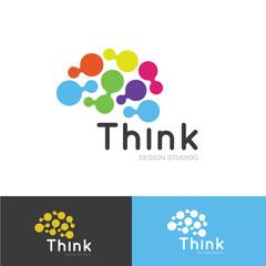 Think logo, creative idea logo template, brain logo design vector