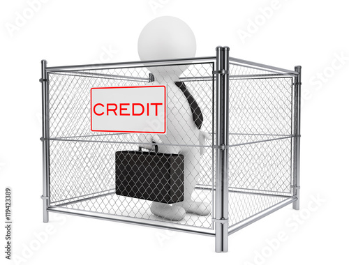 3d Businessman Person inside a Wired Credit Fence  3d Rendering