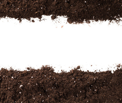 Soil or dirt section isolated on white background