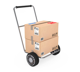 Hand Truck with Parcel Cardboard Boxes. 3d Rendering