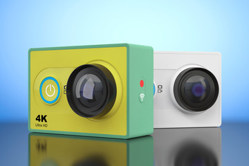 Small Ultra HD Action Cameras. 3d Rendering