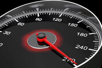 Closeup Car Speedometer. 3d Rendering