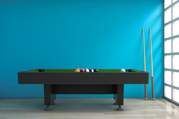 Billiard Table with Balls Set and Cue. 3d Rendering