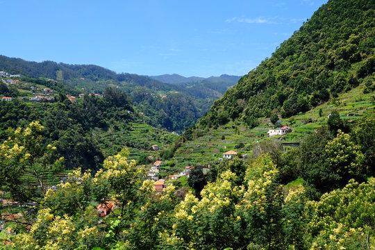 The beautiful Ribeira de Machico Valley, viewed  from the levada do Canico, Madeira.