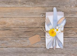 Tischgedeck Gabel Messer Löffel Besteck Dekoration