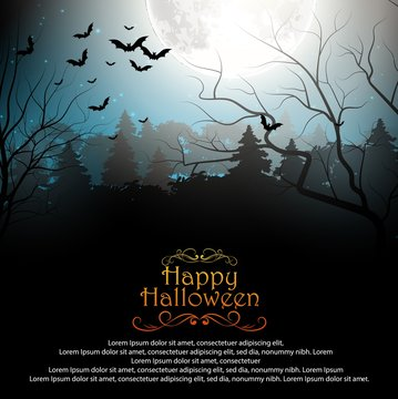Halloween background with creepy forest with bats on full moon