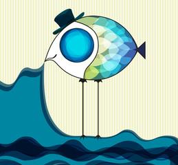 Funny fish keeps the sea