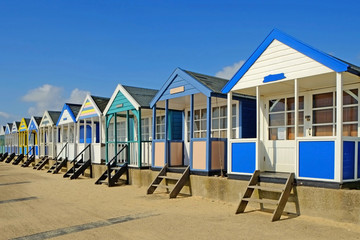 Southwold Beach Chalets on a sunny summer day.