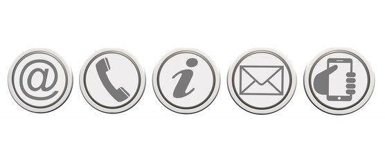 Contact Us – Set of light gray buttons with reflection isolated on white