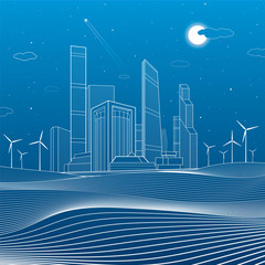 Business center in the sand mountain, architecture and urban illustration, neon city, white lines composition, skyscrapers and towers, wind turbines, vector design art