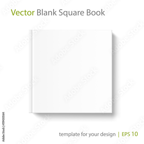 Blank square book cover template on white background\