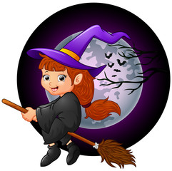 Little witch cartoon flying