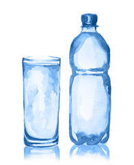 Watercolor water bottle and glass. Fresh healthy beverage. White background. Full glass of water.