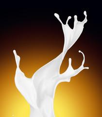 Splash of white fat milk as design element