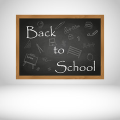 Back to School text on black wooden chalkboard background eps10