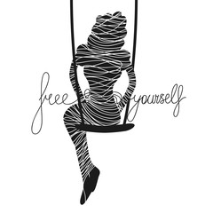 Vector typography poster with black woman silhouette wrapped in rope, sitting on swing. Free yourself.