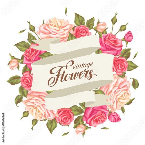 Invitation card with vintage roses decorative retro flowers image invitation card with vintage roses decorative retro flowers image for wedding invitations romantic stopboris Image collections