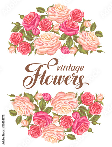 invitation card with vintage roses decorative retro flowers image
