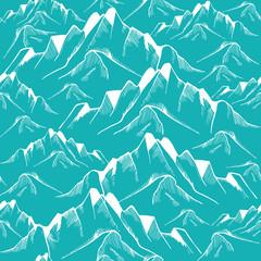 Hand drawn mountain seamless pattern. Landscape pattern. Vector illustration