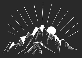 Hand drawn mountains. Vector illustration